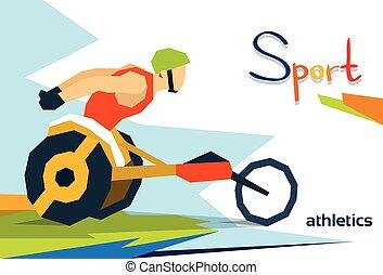 hjul, atlet, konkurrens, handikappad, lopp, stol, sport