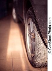 hjul, av, a, bil