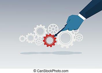 hjul, begreb, firma, startup, ide, hånd, summemøde, cog, forretningsmand, briefing, nye, kreative