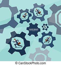 hjul, begreb, løb, folk branche, teamwork, cog, gruppe
