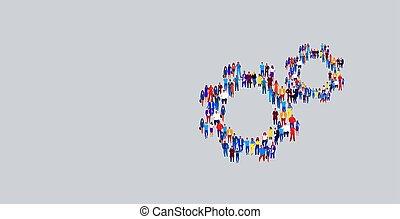 hjul, beliggende, sammenkomst, begreb, gruppe, flok, folk branche, proces, businesspeople, mekanisme, forskellige, facon, teamwork, sammen, cog, sociale, samfund, horisontale