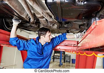 hjul, bil, arbete, mekaniker, skruvnyckel, uppställning