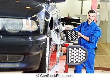 hjul, bil, dator, uppställning, mekaniker