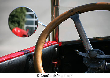 hjul, bil, gammal, styrning
