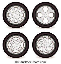hjul, bil, kollektion