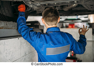 hjul, bil, order, stå, metar, repairman