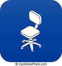 hjul, blå, vektor, liten, stol, ikon