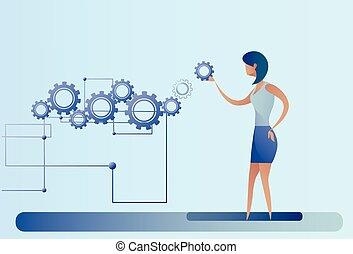hjul, branche kvinde, proces, businesswoman, summemøde, cog