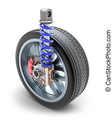 hjul, chocka absorbator, och, bromsa