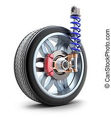 hjul, chocka absorbator, och, bromsa, vaddera