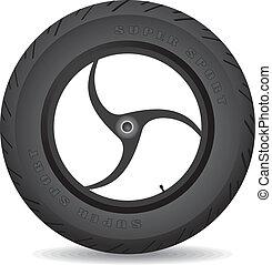 hjul, cykel, -, vector., sports