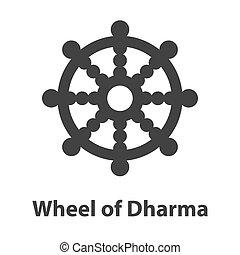 hjul, dharma, symbol., tegn, religion, buddisme, ikon