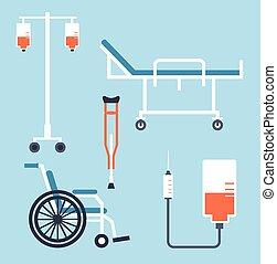 hjul, droppglas, stol, illustration, rullstol