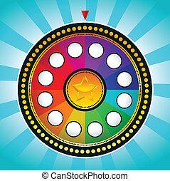 hjul, förmögenhet, färgrik