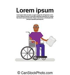hjul, farfar, amerikan, afrikansk, senior, stol, man