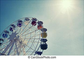 hjul, ferris, över, blåttsky