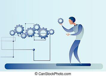 hjul, firma, proces, summemøde, cog, forretningsmand, mand