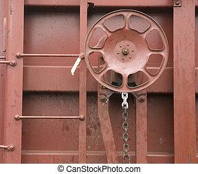hjul, frakt, godsvagn, hand bromsa, transport, järnväg, ...