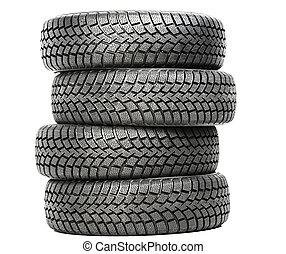 hjul, fyra, vinter, bil, isolerat, tröttar, stack