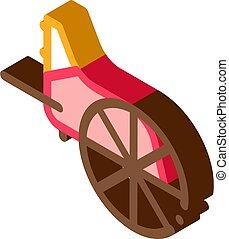 hjul, grek, vektor, trä, isometric, illustration, ikon