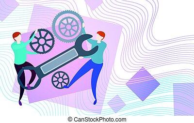 hjul, gruppe, folk branche, proces, summemøde, cog, hold