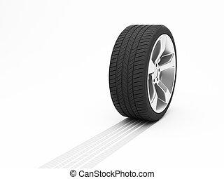 hjul, hos, tyre track