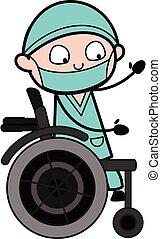 hjul, kirurg, tecknad film, stol