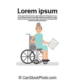 hjul, kvinna, farmor, senior, dam, stol