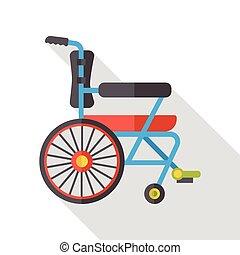 hjul, lägenhet, stol, ikon