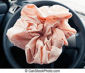 hjul, närbild, airbag, styrning, exploderar, synhåll
