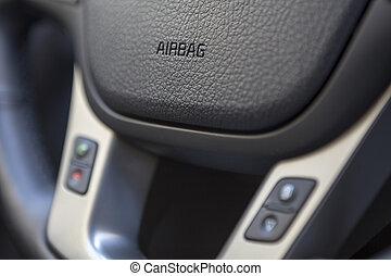 hjul, närbild, underteckna, fordon, airbag, styrning