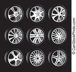 hjul, profil, självgående, tröttar, låg, legering, hjul