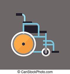 hjul, rullstol, utrustning, ikon, stol, medicinsk, tom
