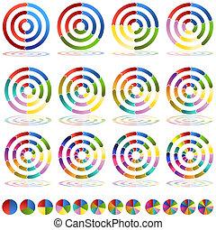 hjul, sätta, måltavla, kartlägga, pil ikon