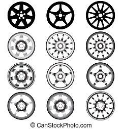 hjul, självgående, hjul, legering