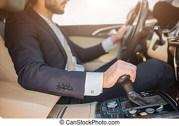 hjul, skäggig, snitt, driving., sittande, bil, fästen, ung, ...