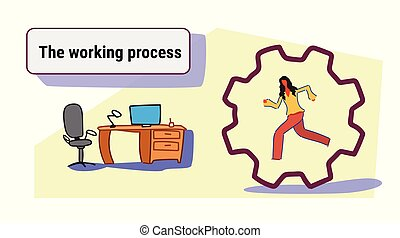 hjul, skitse, begreb, firma, arbejder, proces, businesswoman, inderside, gearwheel, løb, kvinde, deadlinen, arbejdspladsen, cog, doodle, interior, horisontale, kontor, korporativ