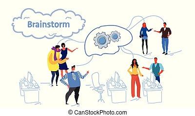 hjul, skitse, gruppe, netværk, folk branche, proces, kontor, businesspeople, nye, projekt, tænkning, coworking, hjerne, cog, hold, interior, summemøde, horisontale, møde