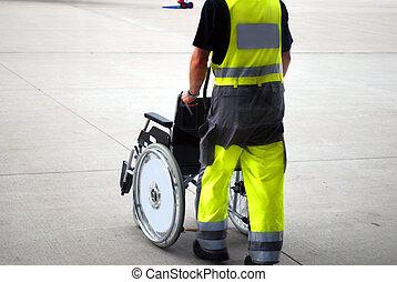 hjul stol, lufthavn