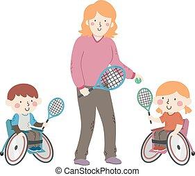 hjul stol, tennis, illustration, lurar, kaross