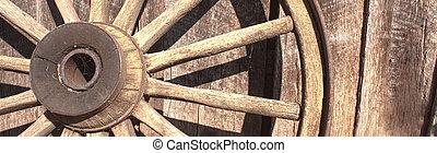 hjul, vagn, gammal, baner