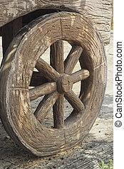 hjul, vagn, gammal, -, västra, style.