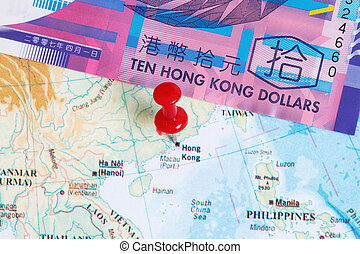 HK 10 dollars bill with Hongkong map