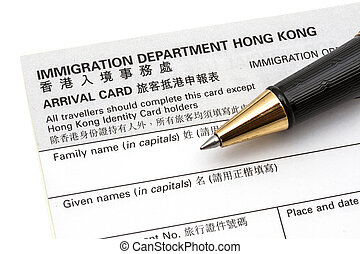 HK Arriva Card - HK immegration department arrival card