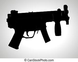 HK Machine Pistol - Isolated spot silhouette of HK machine...
