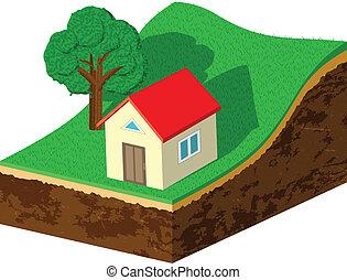 hlína, krajíc, s, ubytovat se, a, strom