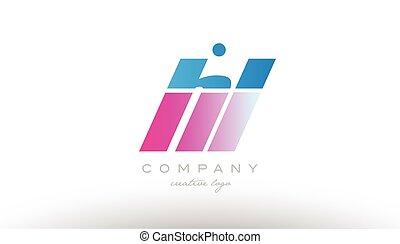 hl h l alphabet letter combination pink blue bold logo icon...