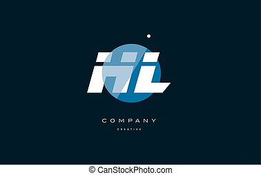 hl h l blue white circle big font alphabet company letter...