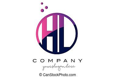 HL H L Circle Letter Logo Design with Purple Dots Bubbles -...