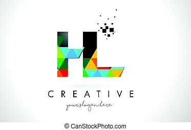 HL H L Letter Logo with Colorful Triangles Texture Design...